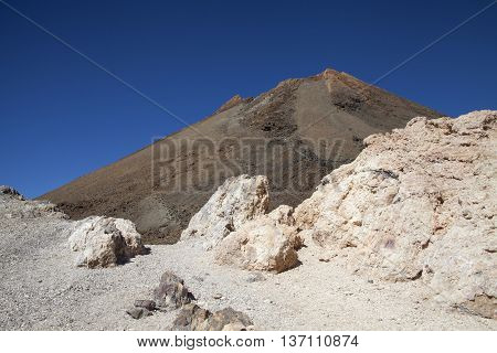 View of top of a volcano of Teide расположенног on the Canary Islands