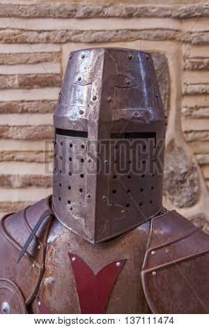 Metal armor and helmet of the knight of the crusader