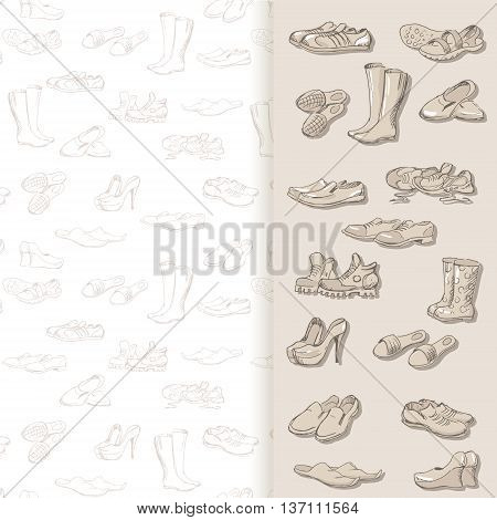 Hand drawing various types of different footwear. Shoes icons sketch male and female shoes sandals boots moccasins rubber boots and else. Vector illustration shoes on seamless background.