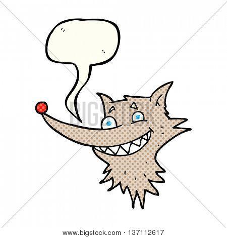 freehand drawn comic book speech bubble cartoon grinning wolf face