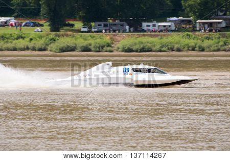 Madison Indiana - July 2 2016: Scott Liddycoat in the GNH 18 races in the National Modified Saturday qualification heat #2 at the Madison Regatta in Madison Indiana July 2 2016.
