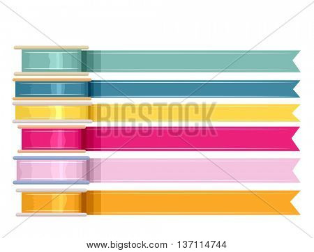 Illustration Featuring Unrolled Ribbons of Different Colors