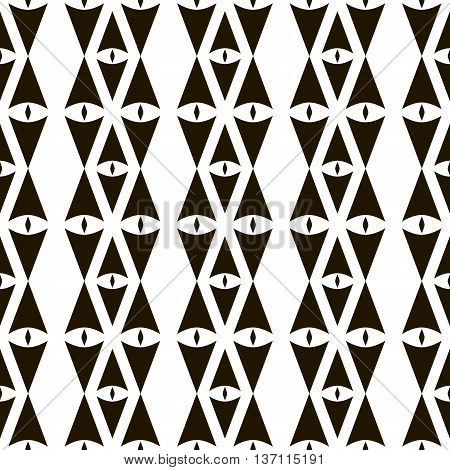 Abstract seamless pattern of sagittate and diamond-shaped elements. Geometric ornament with eye symbols. Laconic black and white print with tribal motifs. Vector illustration for creative design