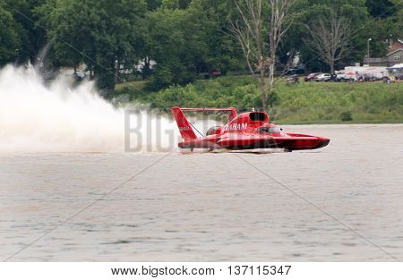 Madison Indiana - July 2 2016: J. Michael Kelly drives the Graham Trucking U-5 in the Morgan Foods Unlimited Heat 1B at the Madison Regatta in Madison Indiana July 2 2016.