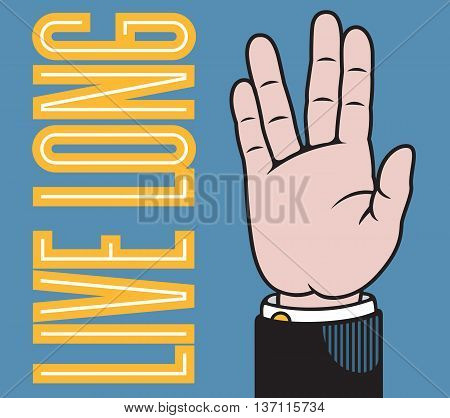 Live long hand vector illustration with fingers spread in Vulcan salute based on classic printers pointer.