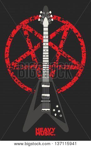 Heavy metal Guitar and Pentagram vector design