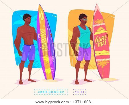 Set of cute illustration of surfing guys. Vector cartoon character. Vector design illustration for web design development. Vector stock illustration