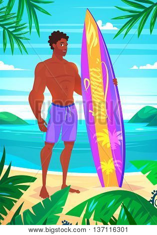 Set of cute illustration of surfing boy. Vector cartoon character. Boy on a background of the sea and palm trees. Vector design illustration for web design development, natural landscape graphics.