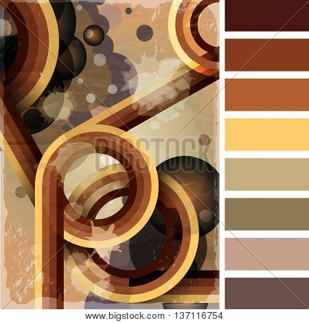 Retro poster template with bubbles, circles, lines and paint splashes. 1960s, 70s style grunge background. In a colour palette with complimentary colour swatches.