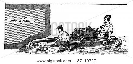 Ingersoll Sergeant cutter driven by compressed air, vintage engraved illustration. Industrial encyclopedia E.-O. Lami - 1875.