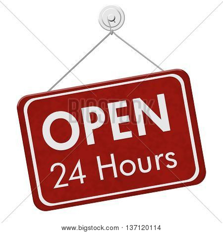 Open 24 Hours Sign A red hanging sign with text Open 24 Hours isolated over white, 3D Illustration