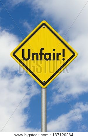 Yellow Warning Unfair Highway Road Sign Yellow Warning Highway Sign with words Unfair Checkpoint with sky background, 3D Illustration