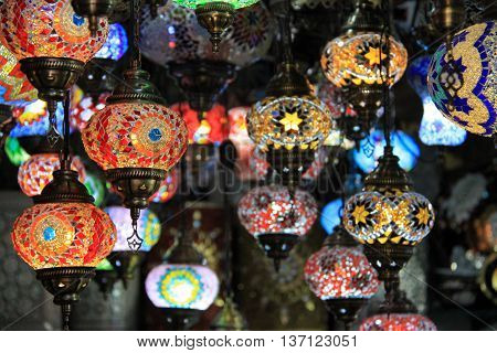 Colourful Moroccan lamps in the city of Tangier