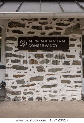 Harpers Ferry United States: May 19 2016: Appalachian Trail Conservancy Sign in historic Harpers Ferry