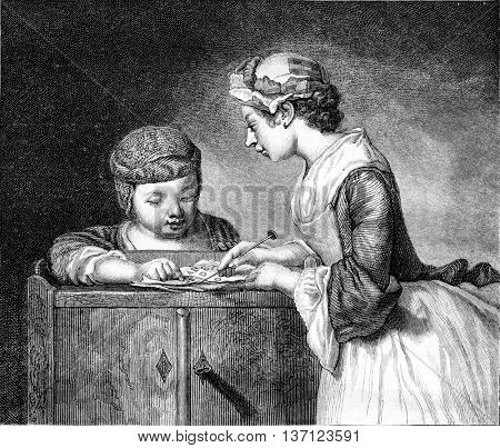 The Lesson of the elder sister, vintage engraved illustration. Magasin Pittoresque 1861.