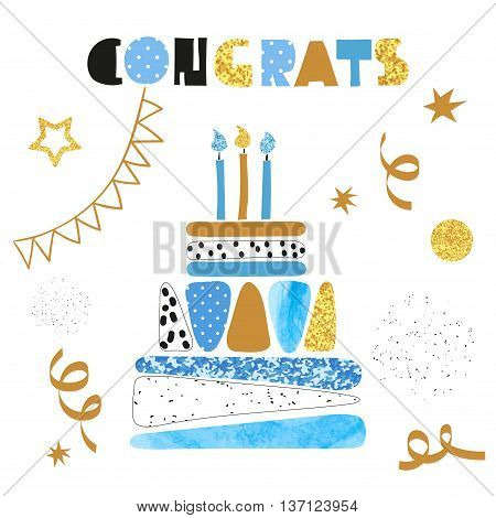 Happy birthday card design. Birthday cake with candles isolated on white. Congrats lettering. vector celebration birthday background.
