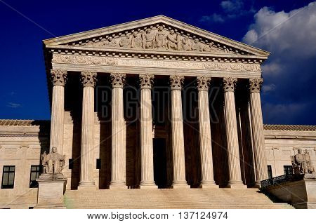 Washington DC - April 9, 2014: neo-classical west front of the 1935 United States Supreme Court on First Street SE