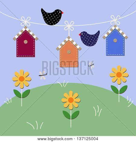 Starlings fly over houses . Vector illustration
