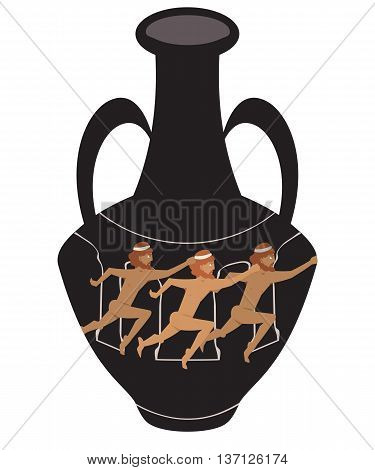 ancient amphora with running athletes - cartoon illustration imitating greek artifact