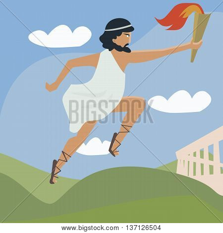 ancient runner with flaming torch - funny cartoon of international sport event symbol