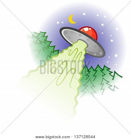 Retro Flying Saucer Alien Spaceship Cartoon Illustration