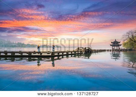 hangzhou scenery sunset glow reflection in west lake China