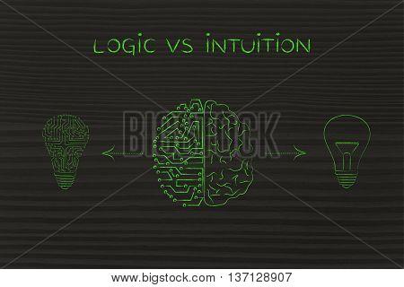 Human & Circuit Brain Having Different Ideas, Logic Vs Intuition