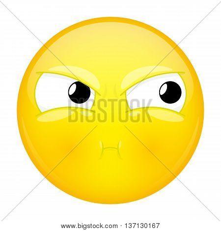 Sulk emoji. Bad emotion. Pout emoticon. Vector illustration icon.