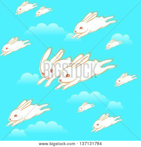 Cute flying bunny clouds seamless pattern