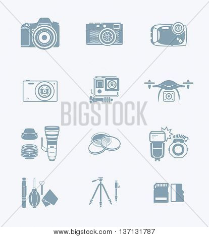 Digital camera and camera accessories grey icon-set