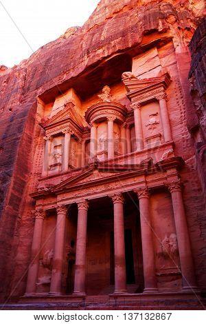 Beautiful view of The Treasury, Petra, Jordan.