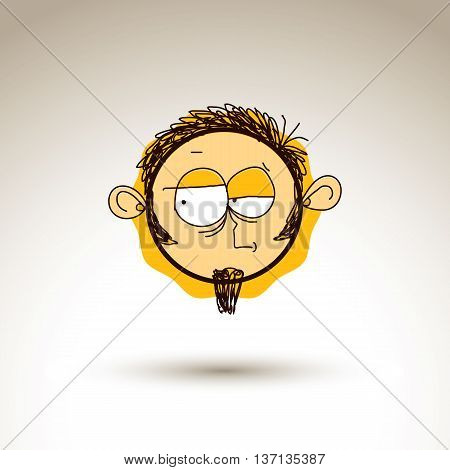 Vector graphic drawing of personality face bizarre male portrait. Social network theme illustration human emotions idea. poster