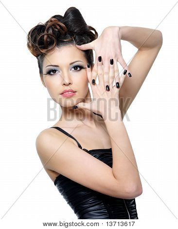 Woman With Stylish Hairstyle And Black Nails
