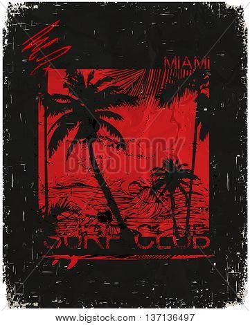 Miami - vector illustration concept in vintage graphic style for t-shirt and other print production. Palms wave and sun vector illustration. Design elements.