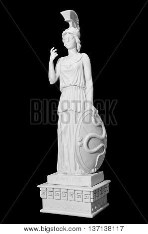 Antique statue of a woman with a shield on a black background