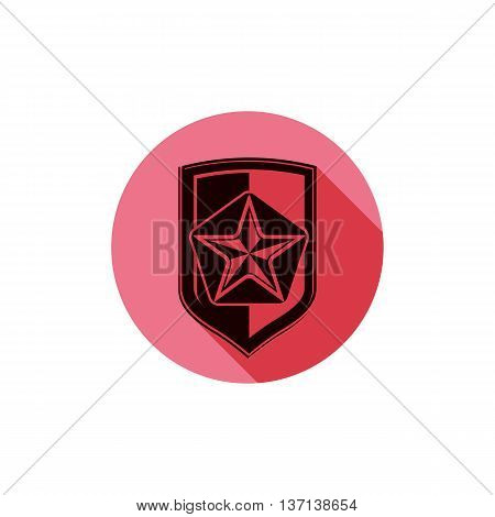 Military shield with pentagonal comet star protection heraldic sheriff blazon. Army symbol sheriff badge.