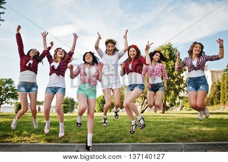 Seven Happy And Sexy Girls On Short Shorts Jumping And Having Fun At Park On Bachelorette Party