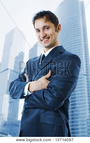 Handsome Successful Business Man Smiling Outdoor