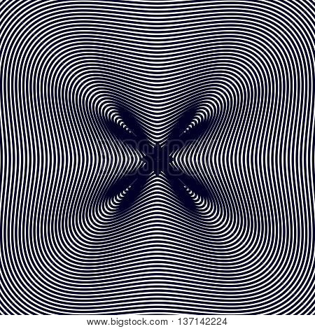 Black and white moire lines striped psychedelic background. Op art style contrast vector pattern.