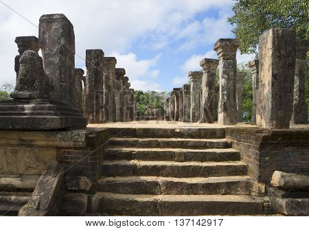POLONNARUWA, SRI LANKA - MAY 15, 2015: On the steps of the old Royal Council Chamber. Historical landmark of the city Polonnaruwa, Sri Lanka