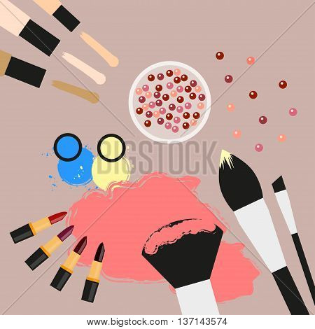 Fashion still life Collection of cosmetic products. Concealer, blush, lipsticks, eyeshadow, makeup brushes. Cosmetics elements Flat design Top view