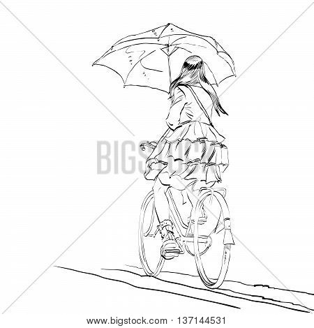 Girl on bike with umbrella autumn rain hands drawn vector illustration. Beautiful woman symbol of loneliness and sadness. A cyclist rides on the road
