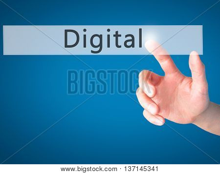 Digital - Hand Pressing A Button On Blurred Background Concept On Visual Screen.