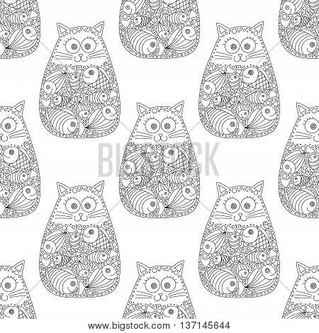 Cat and fish.Vector seamless pattern with hand drawn cat with fish in stomach. Doodle cat for kids design. Black and white colors. Fun cat for coloring book. Contour drawing.