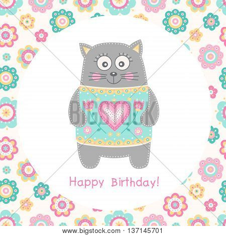 Cute flat cat. Vector Happy Birthday square card with smilling cat in colorful wear. Flowers hearts and dots. Pink yellow grey green and white colors. Fun birthday card for children. poster