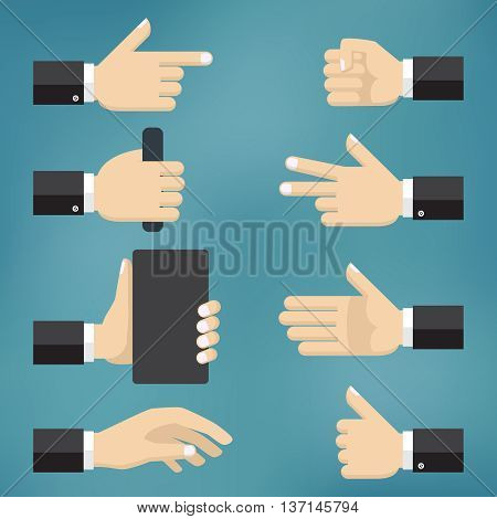 Illustration of collection of hand gestures on the blue background.