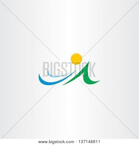 Mountain River And Sun Vector Icon Element Symbol