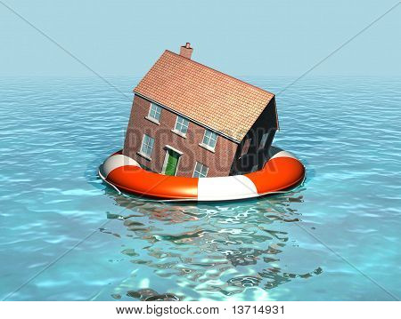 House on a lifebelt, housing market in trouble, rising sea levels
