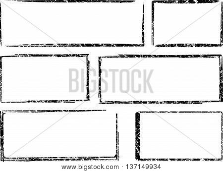 Set of six square and rectangular grunge vector templates for rubber stamps