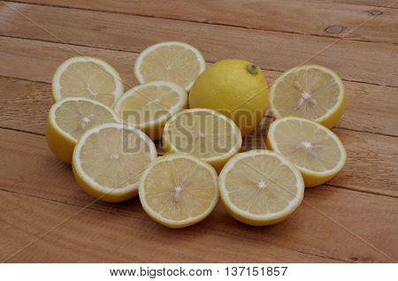 halves of lemons on the wooden boards